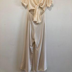 Cream jumpsuit with crop top